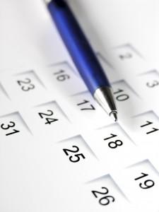 Pen on calendar